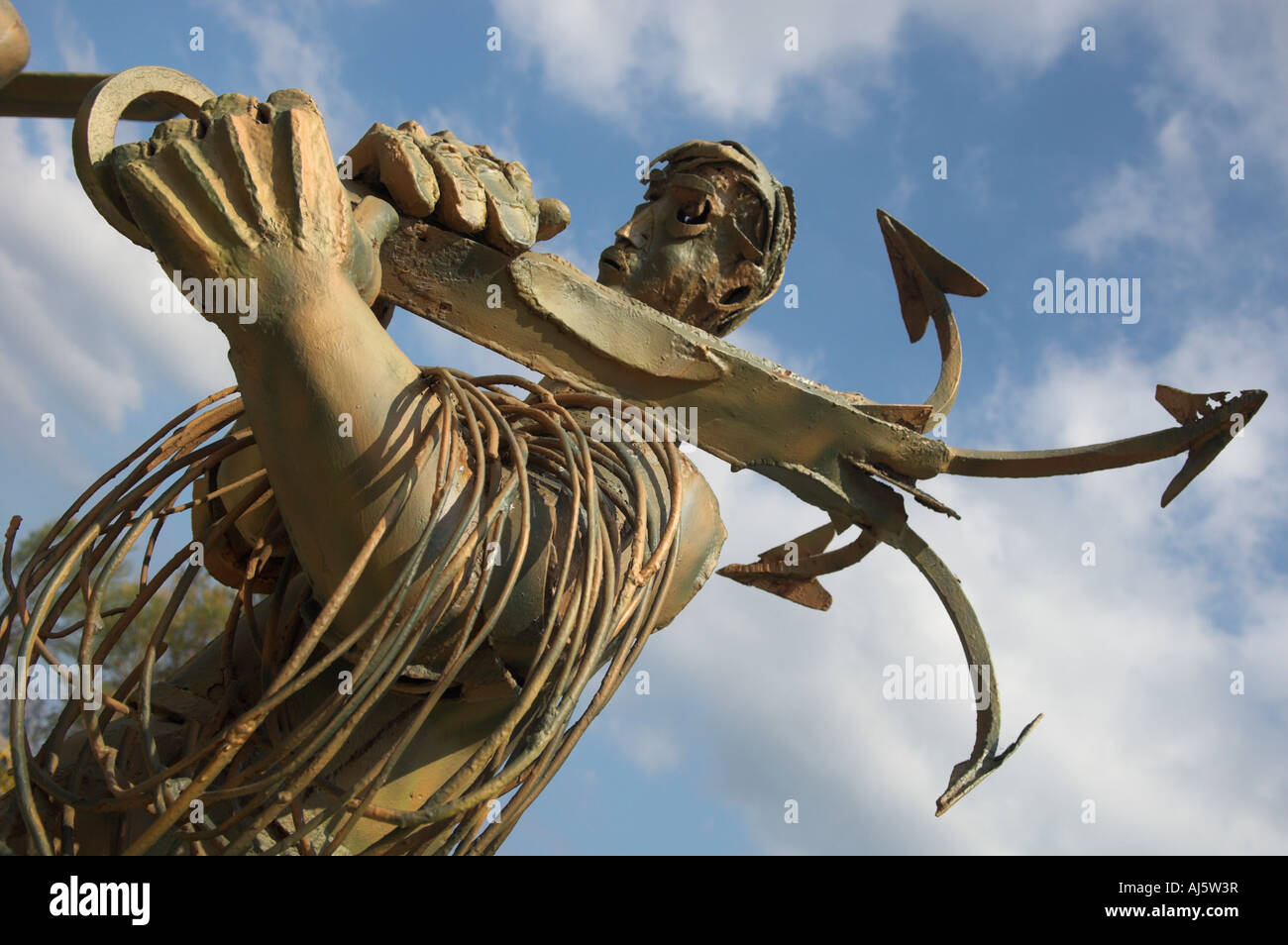 Abstract steel sculpture Hombres de Mar of fisherman with anchor in memory of those lost at sea Laredo Spain - Stock Image