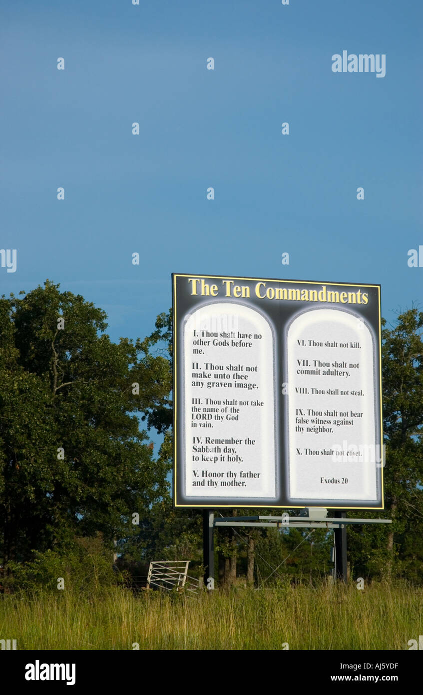 Stock Photo of Ten Commandments Sign on Interstate USA - Stock Image