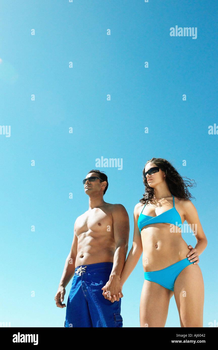 Couple wearing swimwear - Stock Image