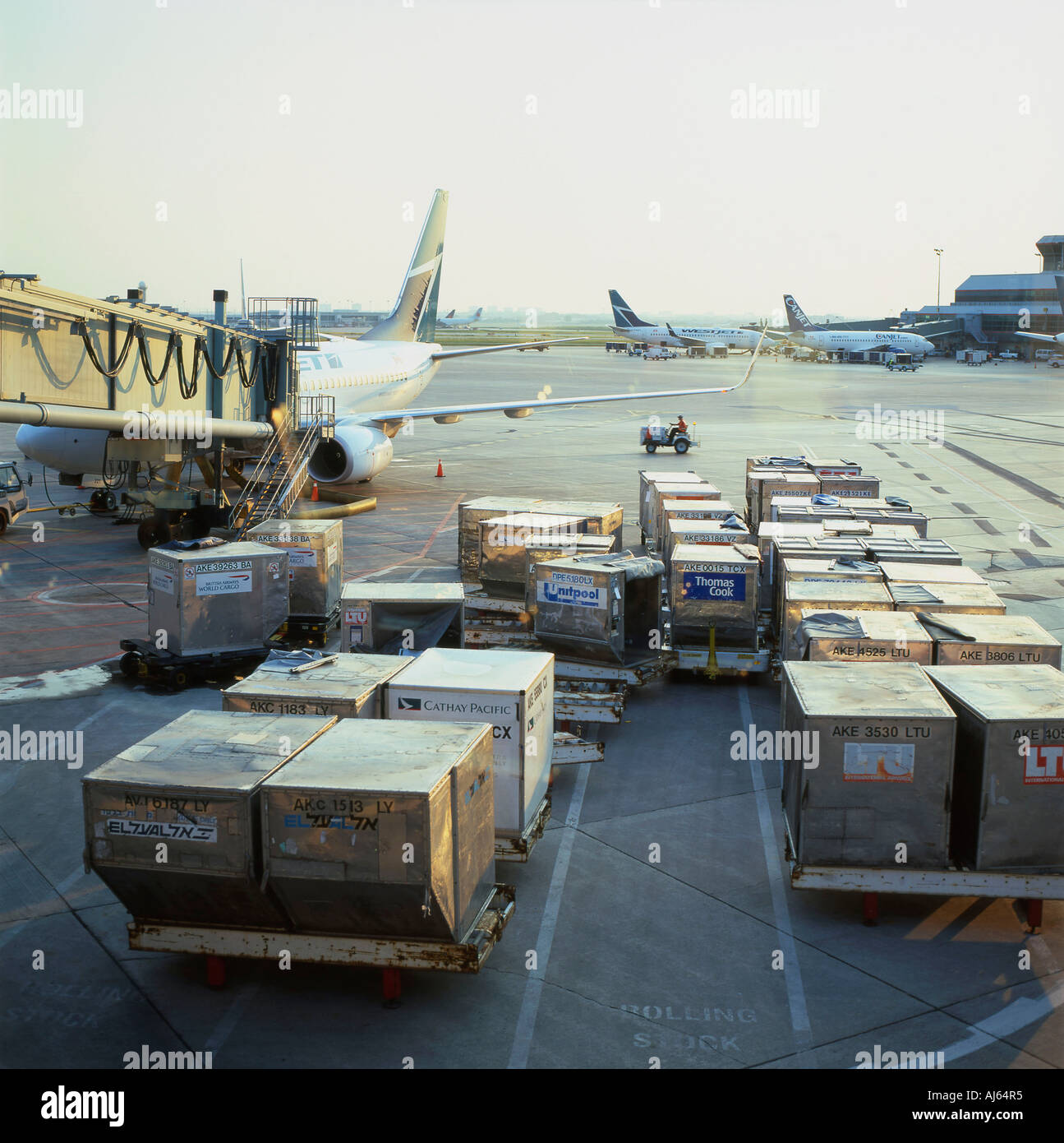 Air cargo being loaded onto planes from the tarmac at Lester Pearson Airport Toronto Ontario Canada  KATHY DEWITT - Stock Image