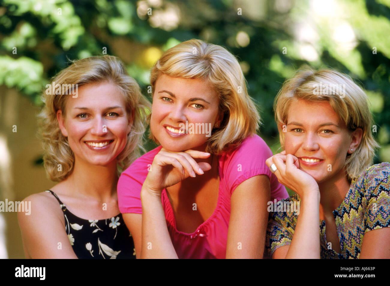 Three smiling Swedish women - Stock Image