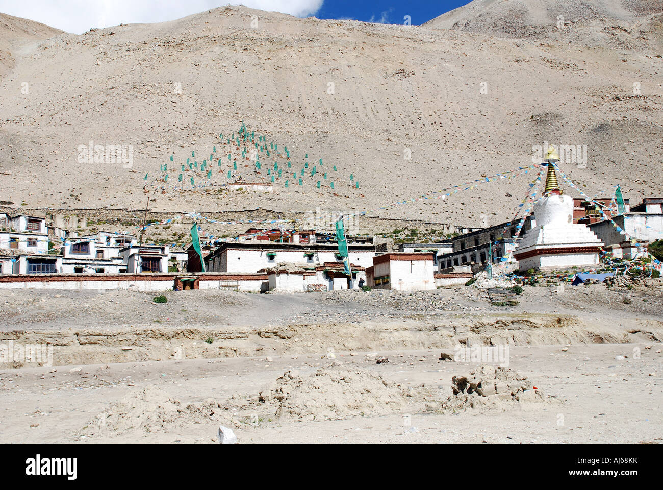The Rongbuk monastery in Tibet which is reputed to be the highest in the world and stands in the shadow of everest - Stock Image