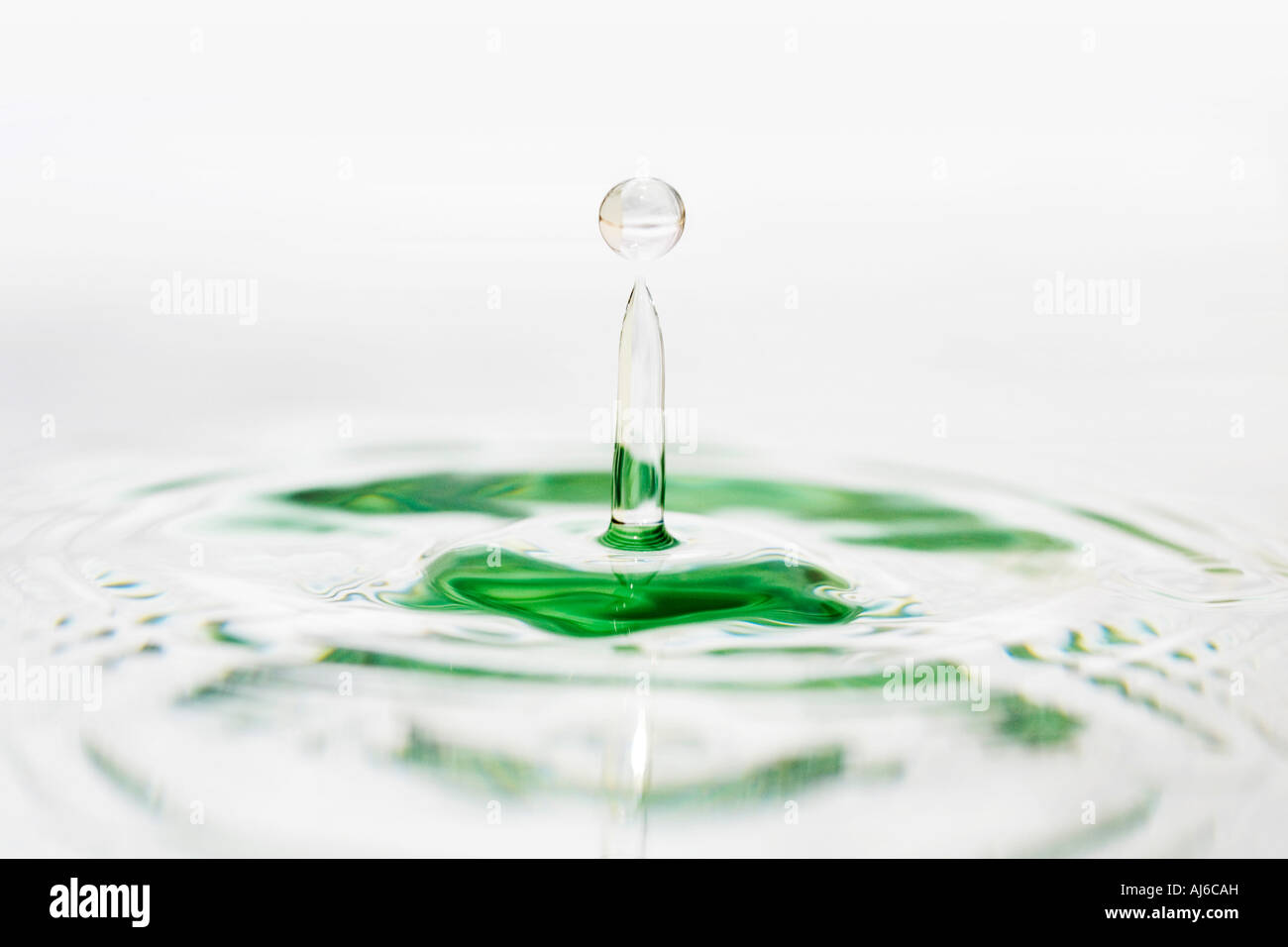Water drop on white water mirrored surface Stock Photo