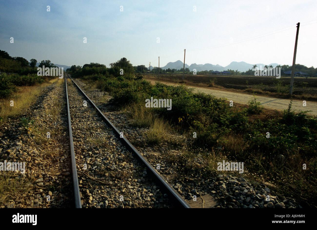 The Thailand to Burma railway near Chungkai, Thailand. - Stock Image