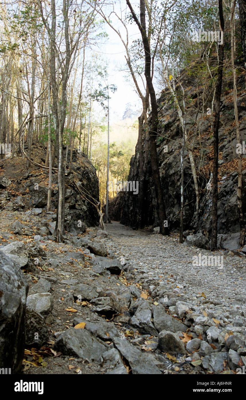 Konyu Cutting (Hellfire Pass) near Kanchanburi on the Burma - Thailand Railway. - Stock Image