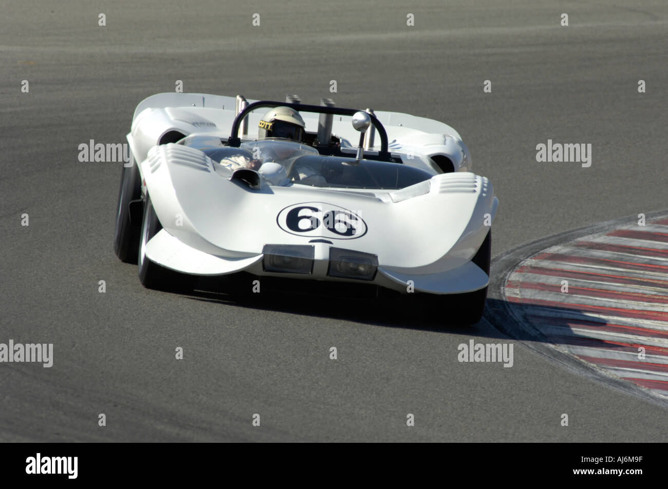 Jim Hall drives the Chaparral 2 at the 32nd Rolex Monterey Historic ...