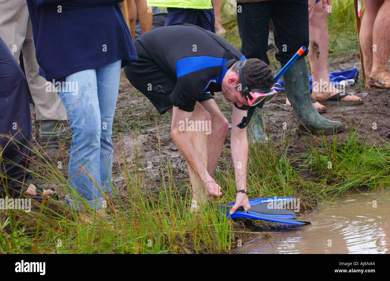 Competitor ready to take the plunge in the World Bog Snorkelling Championships at Llanwrtyd Wells Powys Mid Wales UK - Stock Image