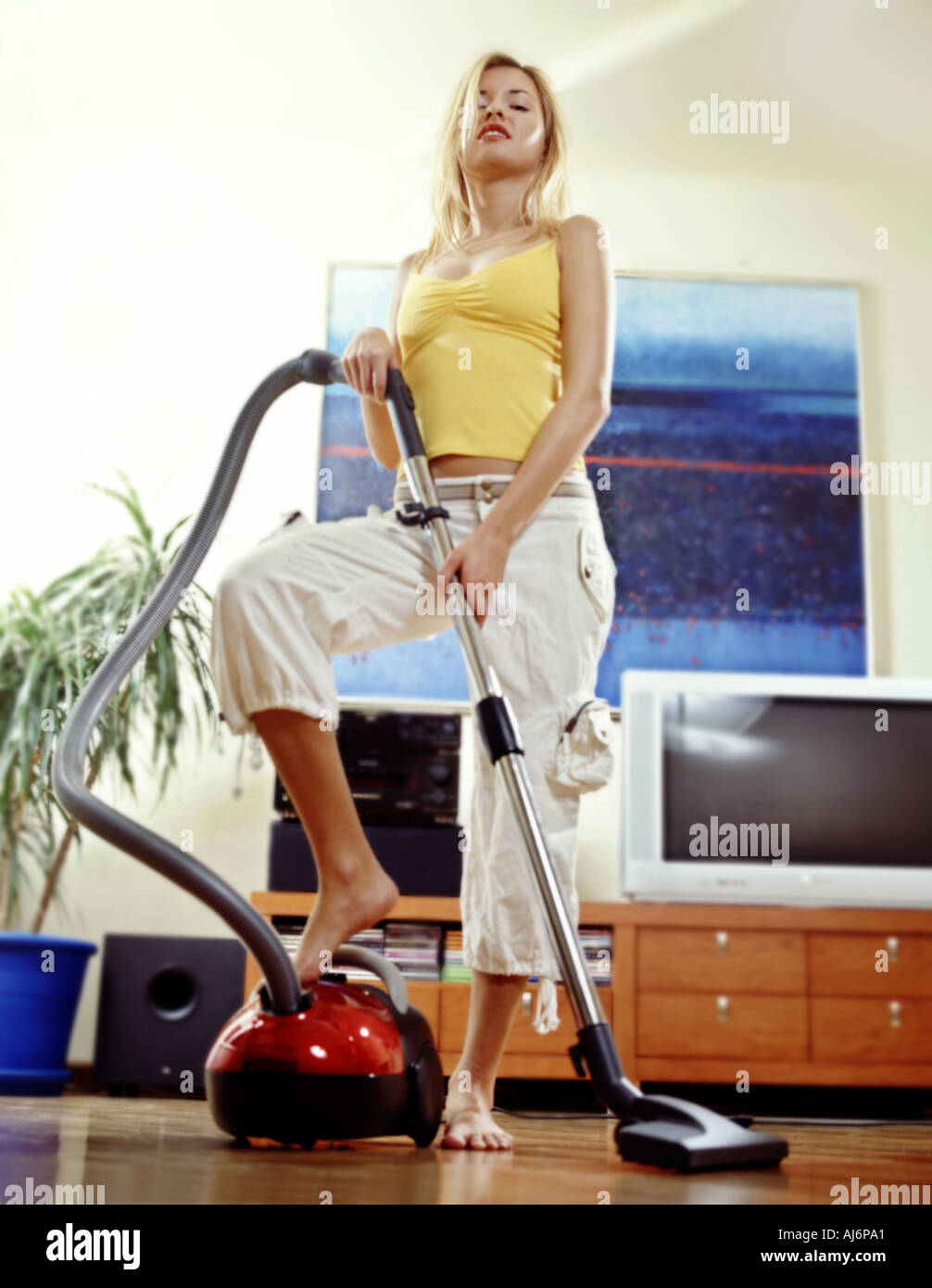 Vertical Girl Woman 20 25 Maid Housewife Tidy Vacuum