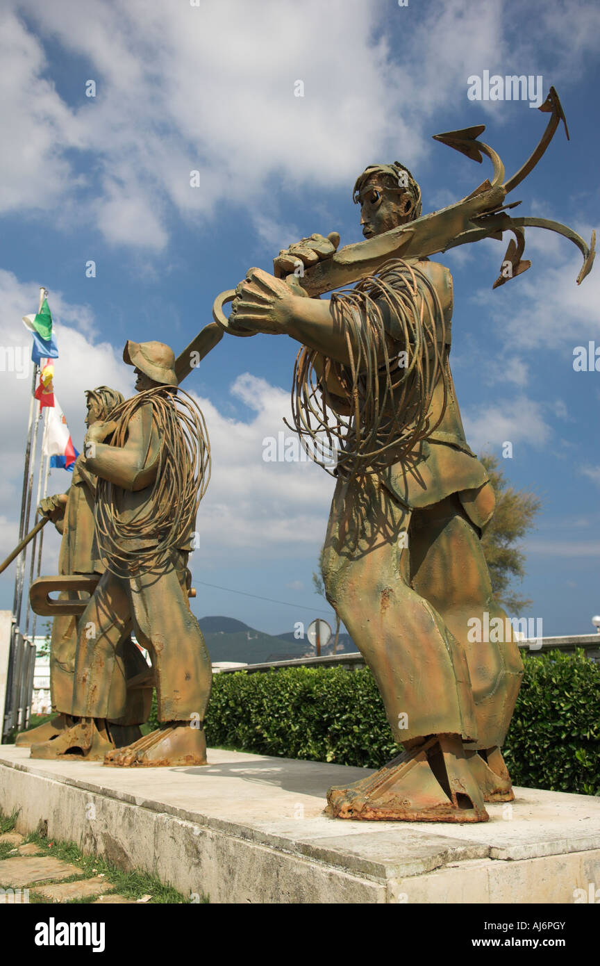 Abstract steel sculpture Hombres de Mar of fisherman in memory of those lost at sea Laredo Spain Stock Photo