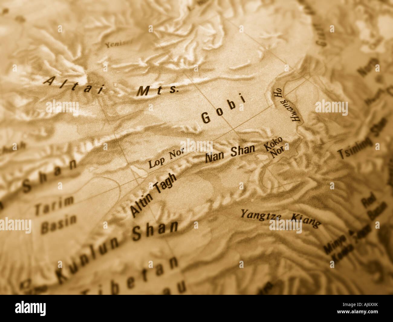 gobi desert map Stock Photo: 14641626 - Alamy