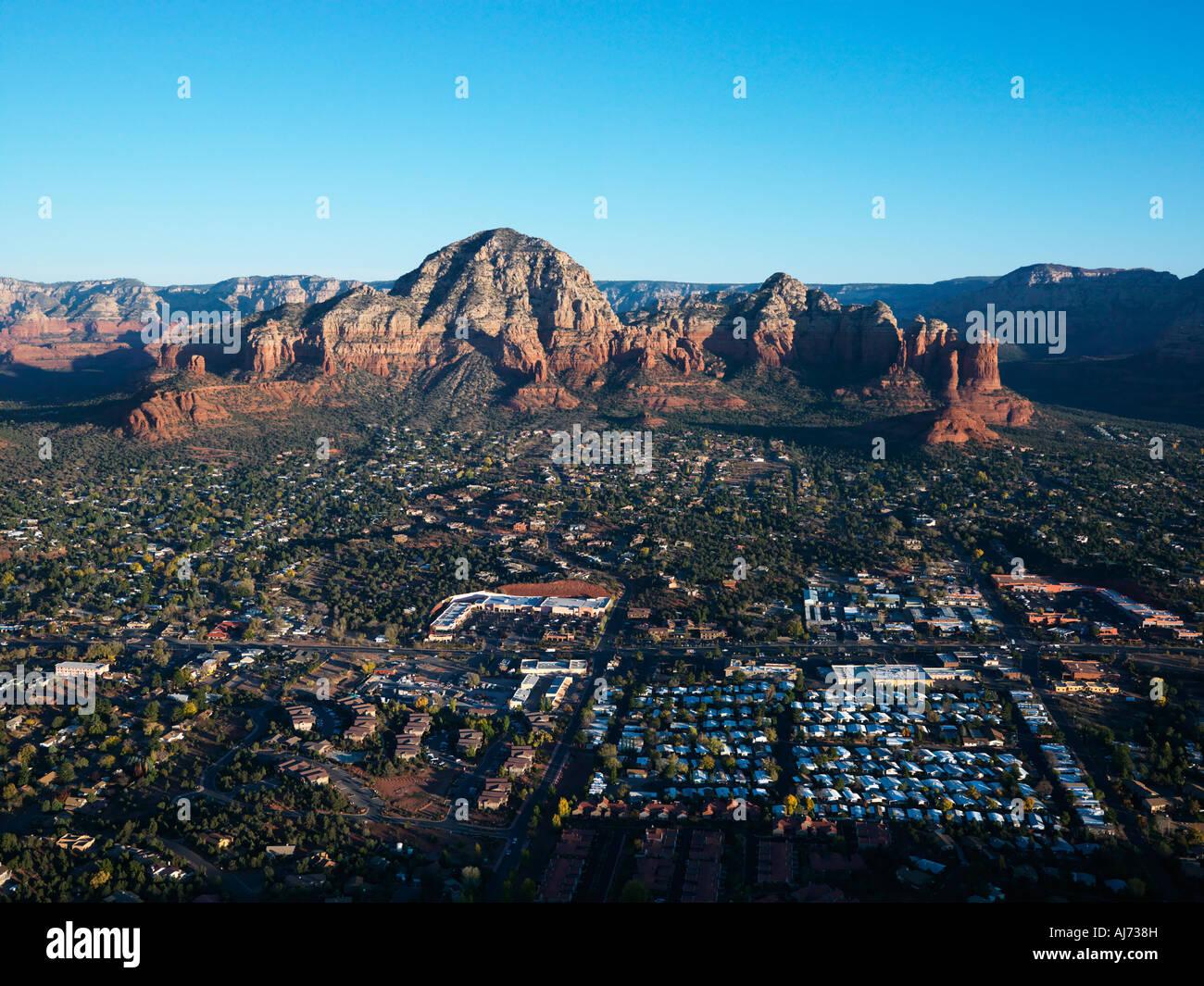 Aerial view of Sedona Arizona with landforms - Stock Image
