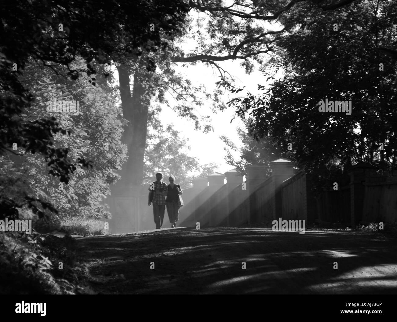 Light rays falling on the pilgrims Monastery of the Transfiguration of the Saviour Valaam Russia - Stock Image