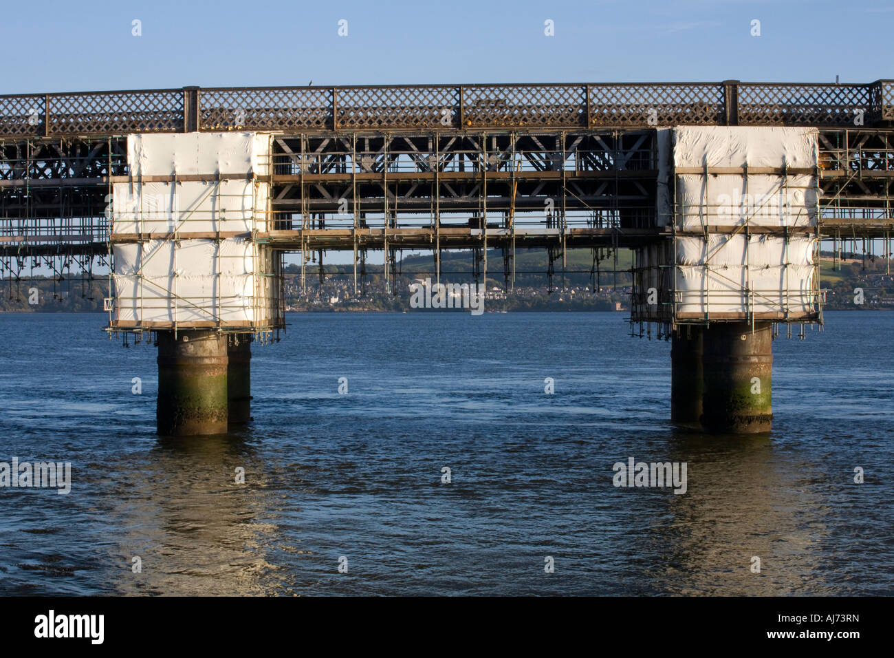 Tay Rail Bridge under repair at Dundee _Railway Bridge. Tayside Scotland - Stock Image