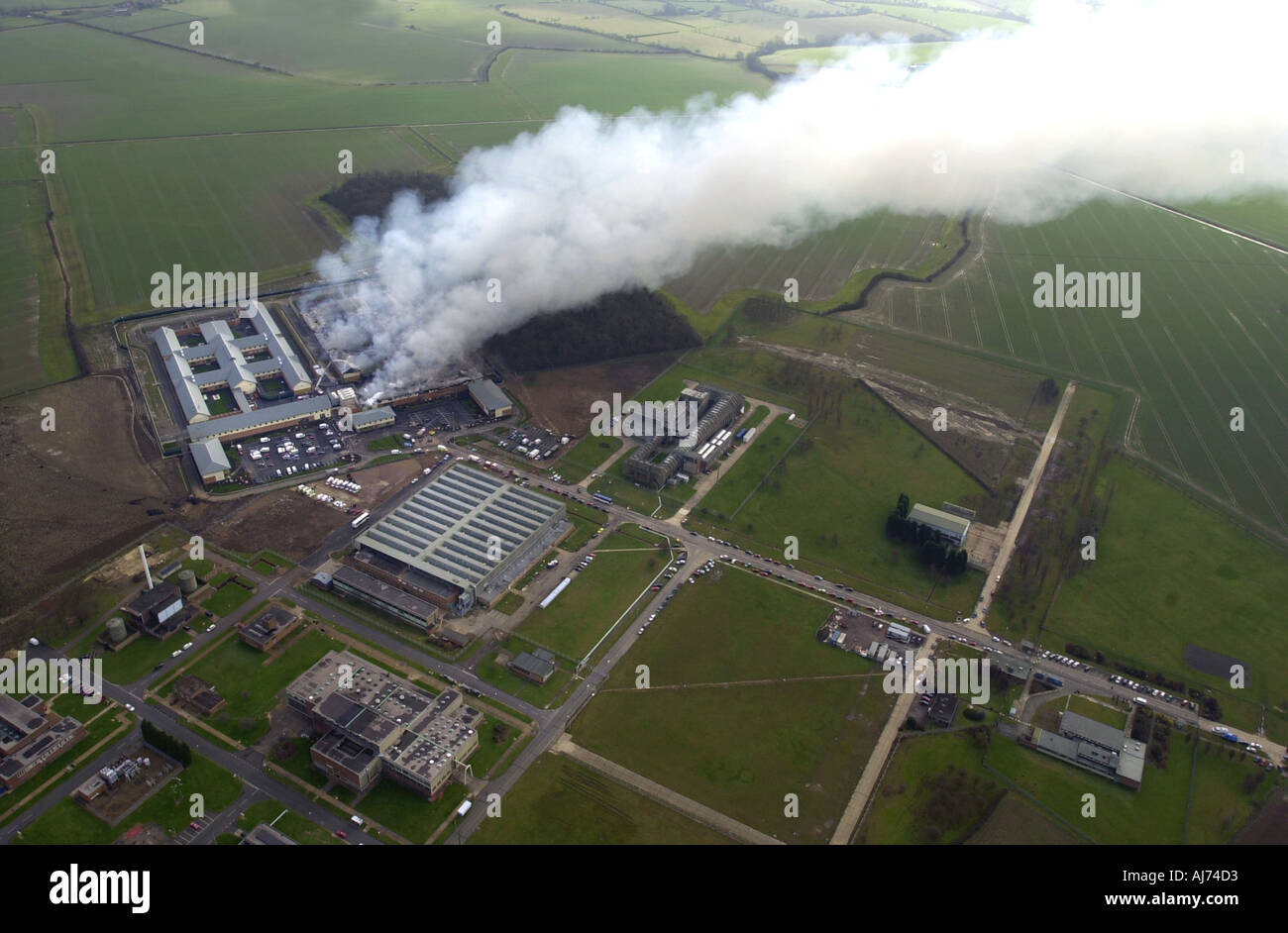 Yarlswood detention centre fire 14 2 2002 Bedfordshire UK - Stock Image