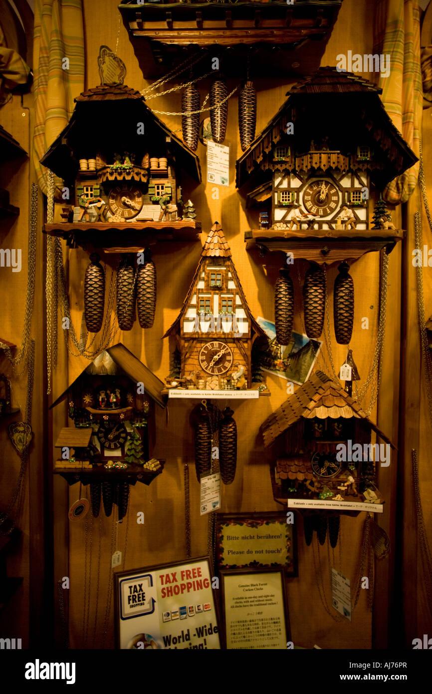 Cuckoos in a German souvenir shop - Rothenburg ob der Tauber - Stock Image