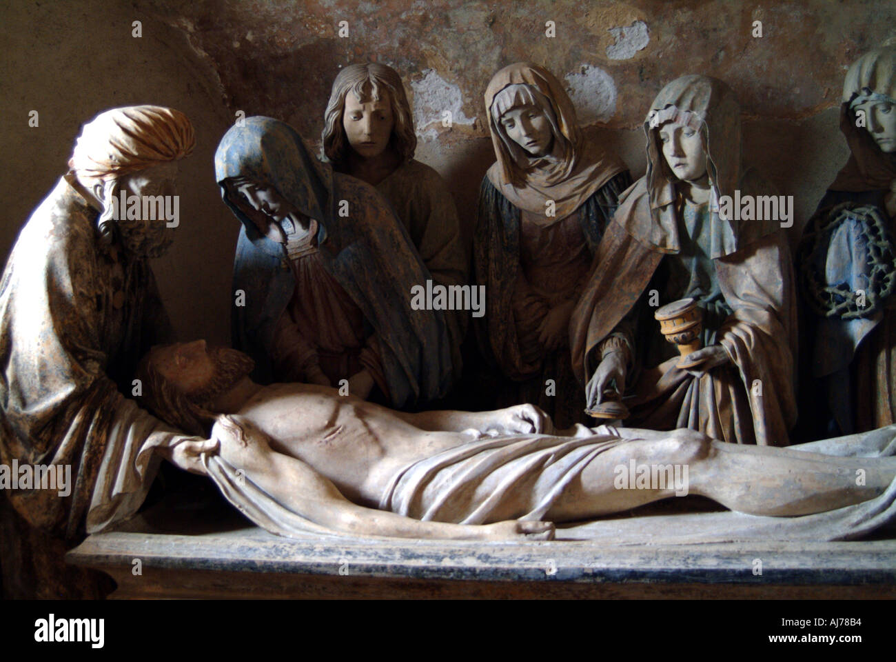 France Aube Chaource Church Mise au Tombeau Burial carved by the unknown Master of Chaource Stock Photo