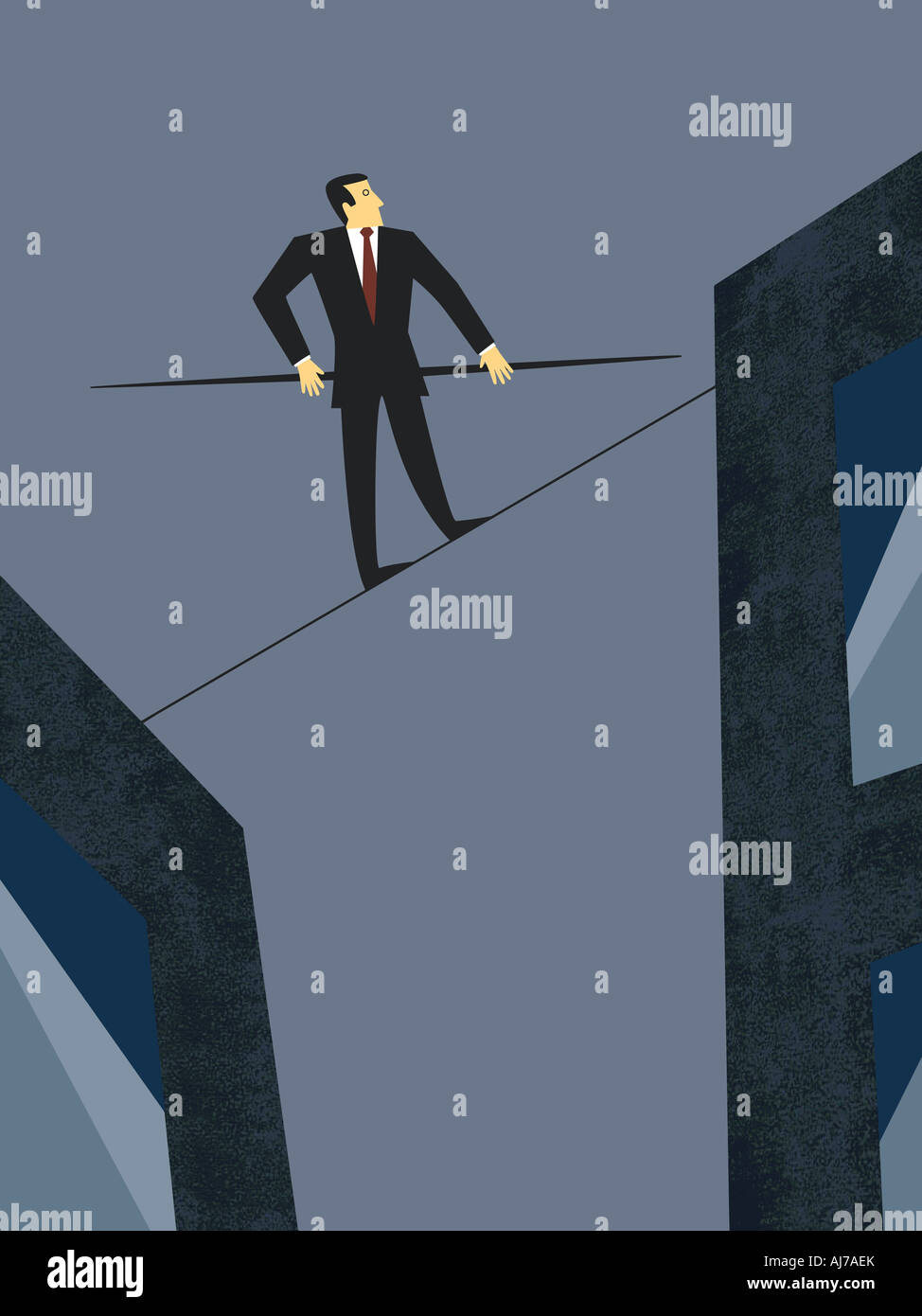 Business Balancing Act - Male executive walking on tightrope - Stock Image