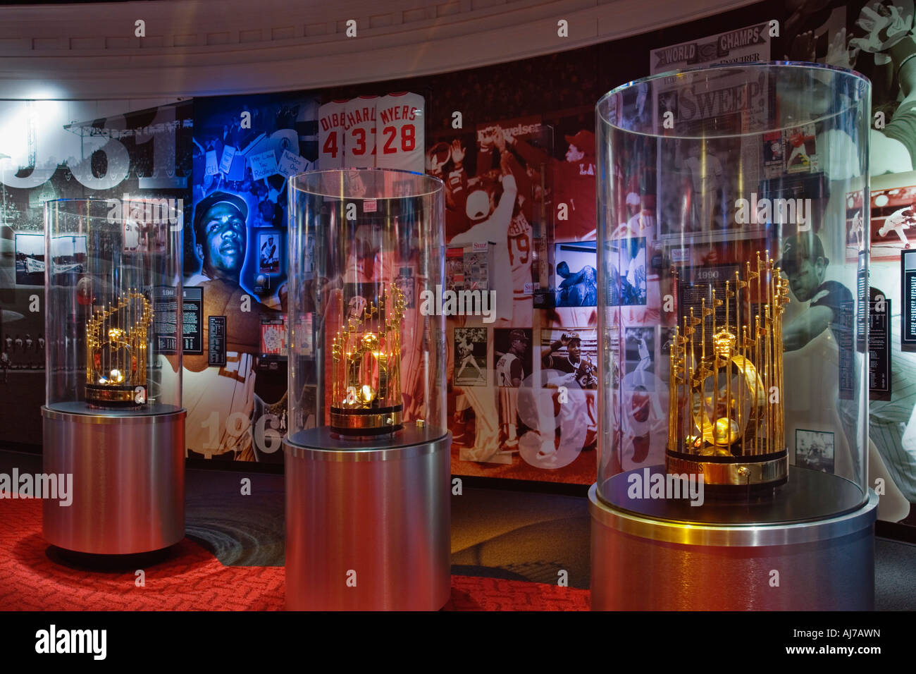 Three World Series Trophies on Exhibit at the Cincinnati Reds Hall of Fame, Cincinnati Ohio. - Stock Image