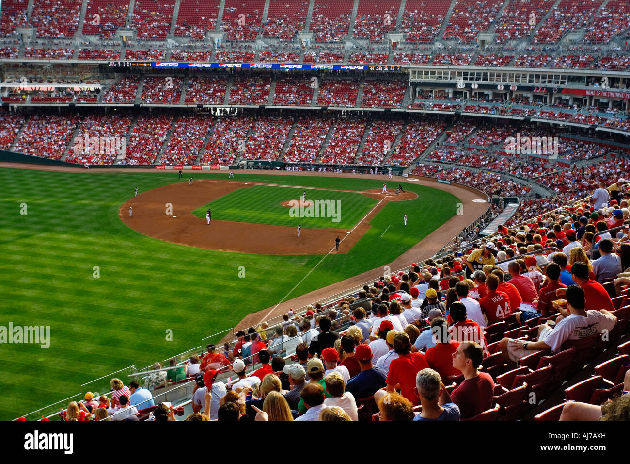 Great American Ballpark home of the Cincinnati Reds filled with fans during the early innings of a game Cincinnati - Stock Image