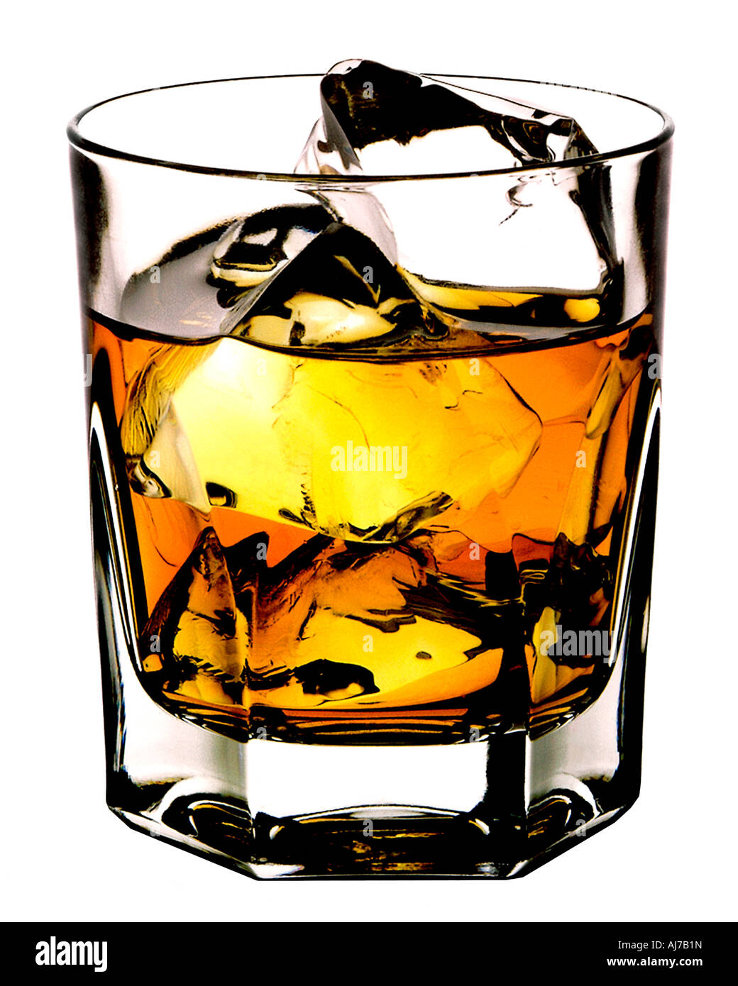 SCOTCH ON THE ROCKS CUT OUT BACKGROUND - Stock Image