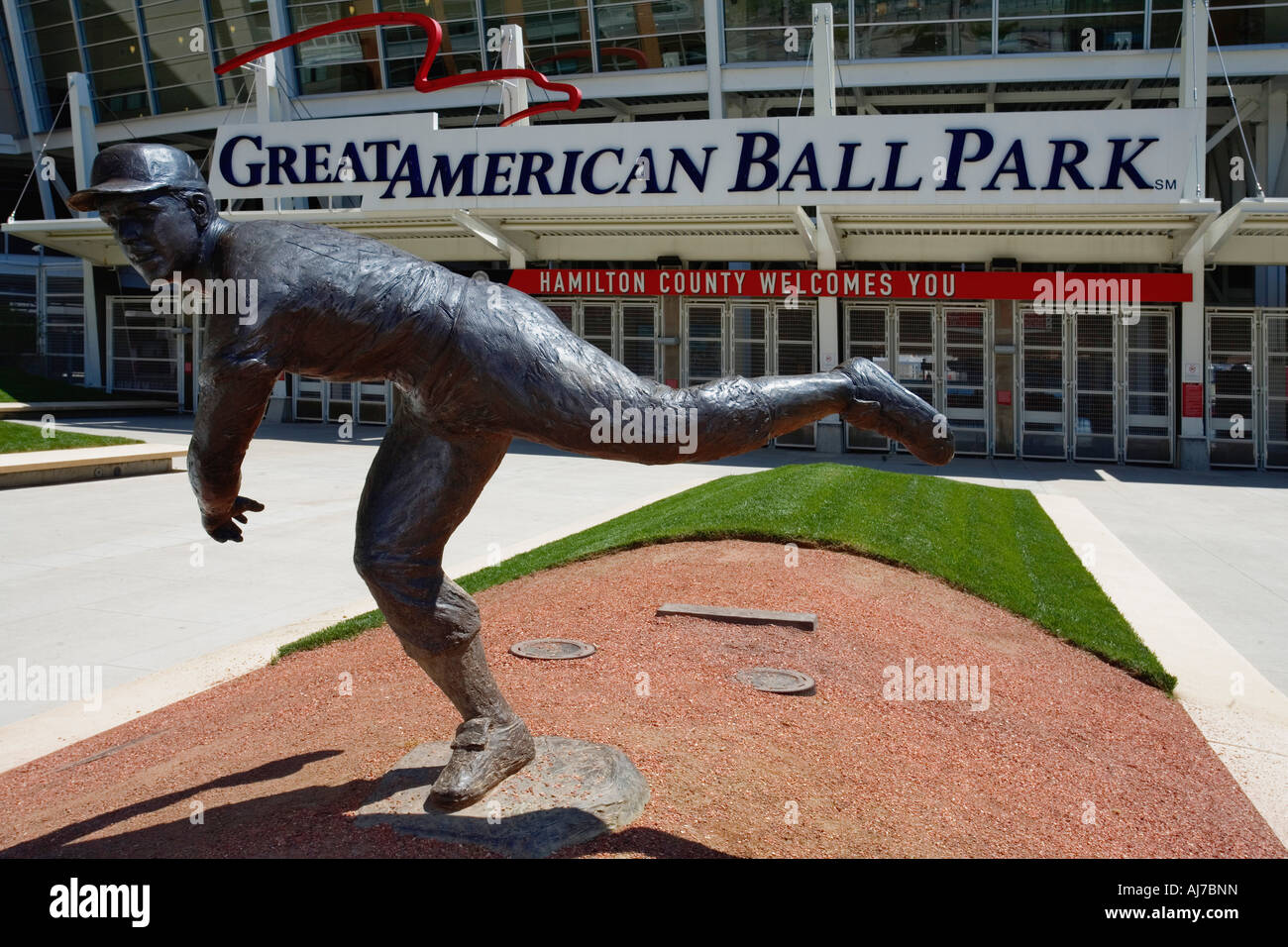 Statues of past Reds greats welcomes visitors as they enter Great American Ball Park Cincinnati Ohio - Stock Image
