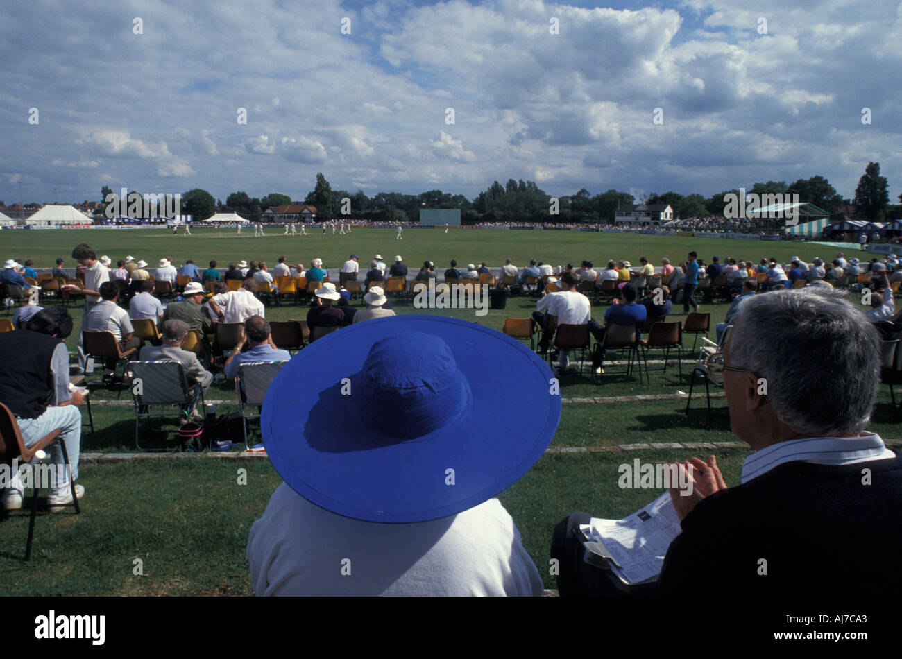 County cricket match Essex v Leicestershire. Southchurch Park. Southend-on-Sea. Essex. July 1993. - Stock Image