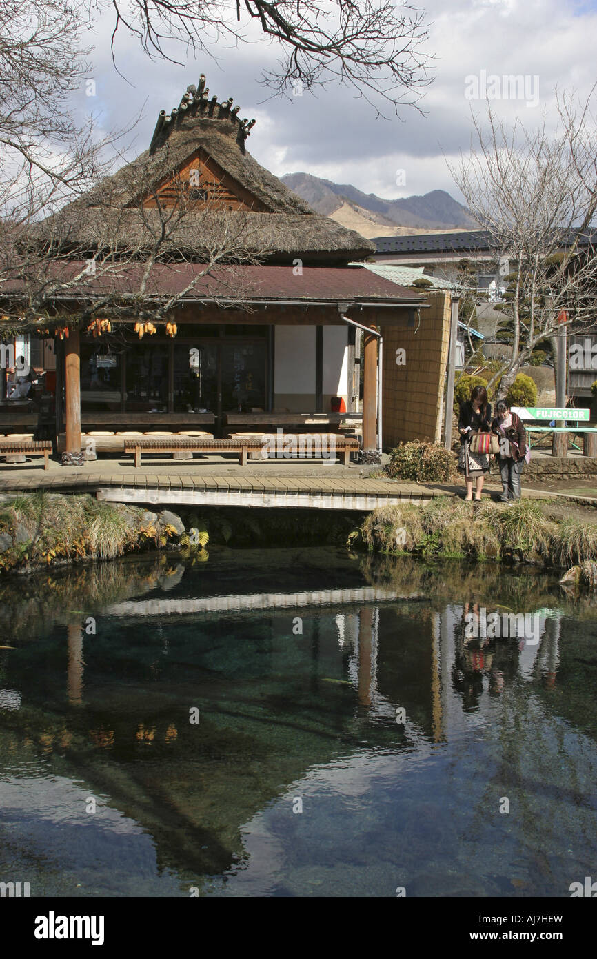 A Pond and a Traditional House Oshino Hakkai Yamanashi Japan Stock Photo