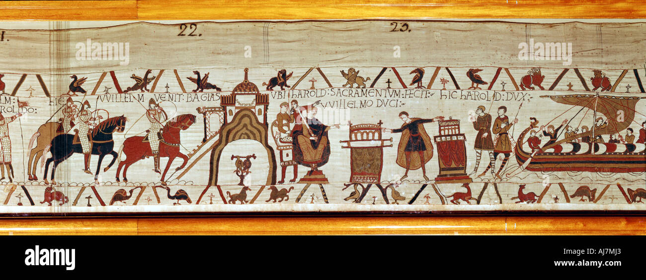 Bayeux Tapestry, 1070s. Artist: Unknown - Stock Image