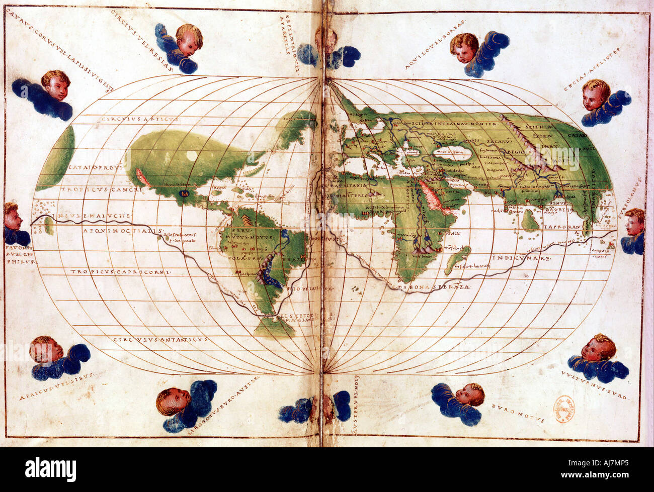 Map of Magellan s round the world voyage 1519 1521  - Stock Image