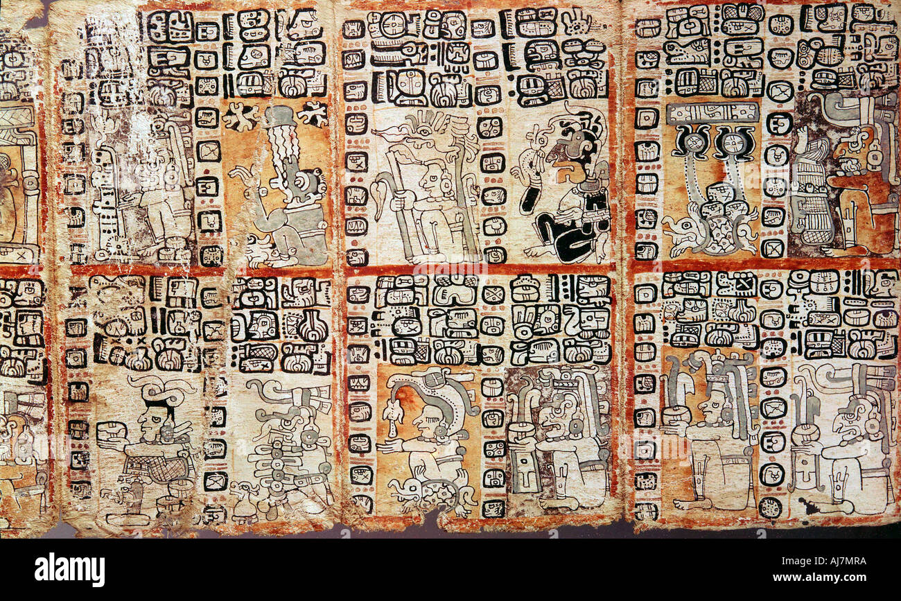 Section from the Mayan Troano Codex 15th century  - Stock Image