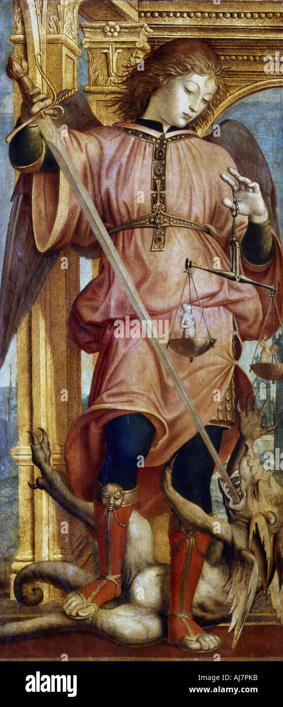 St Michael the Archangel fighting a dragon with a sword c1484 1526  - Stock Image