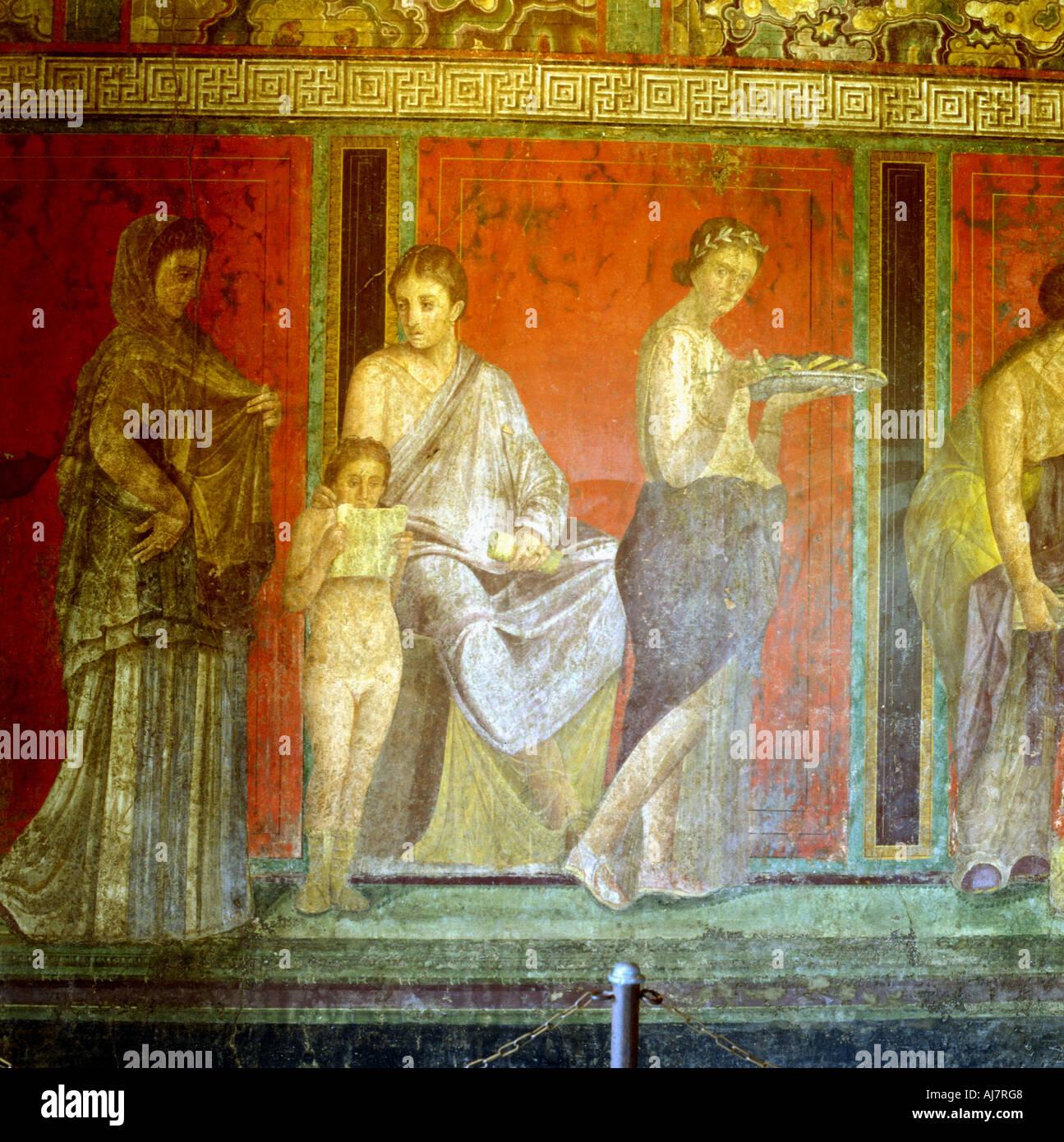 Fresco from the Villa of the Mysteries Pompeii Italy c1st century BC 1st century AD  - Stock Image
