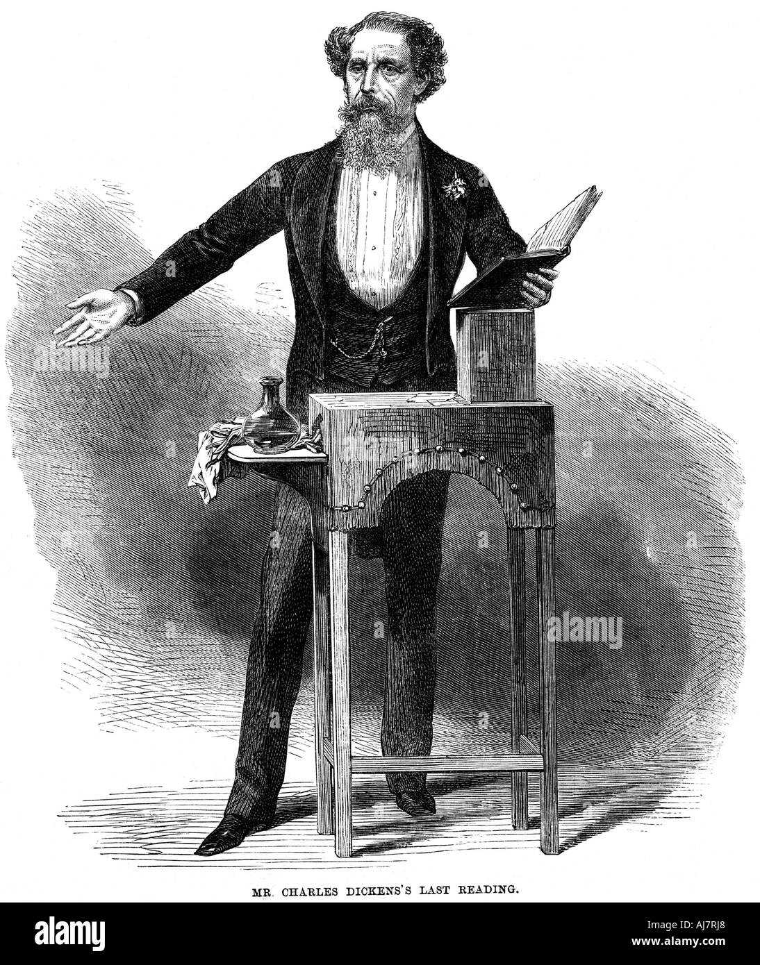 Charles Dickens 1812 70 giving his last public reading at St James s Hall London 5 March 1870  - Stock Image