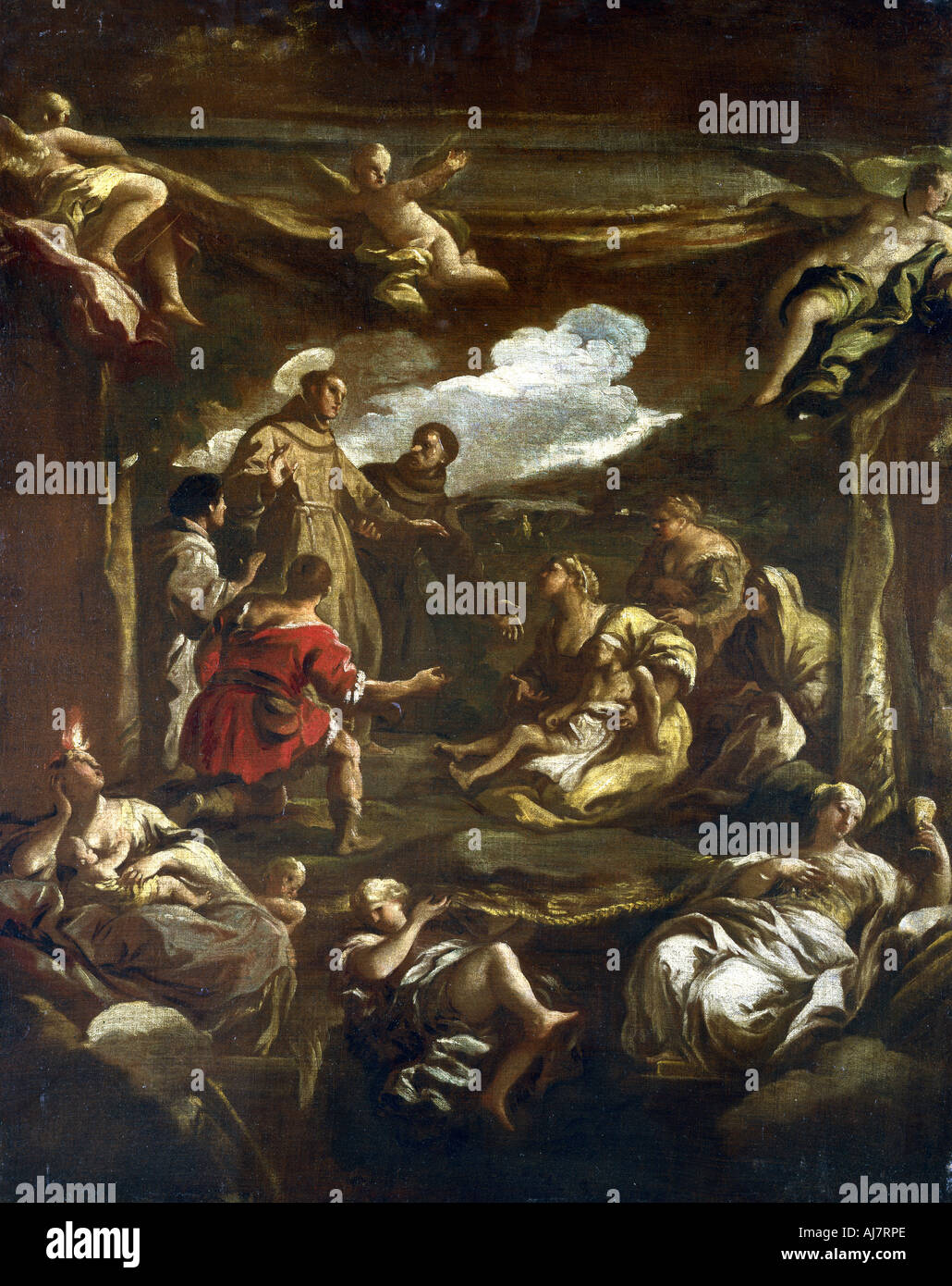 'St Anthony of Padua healing a young man', c1654-1705. Artist: Luca Giordano Stock Photo