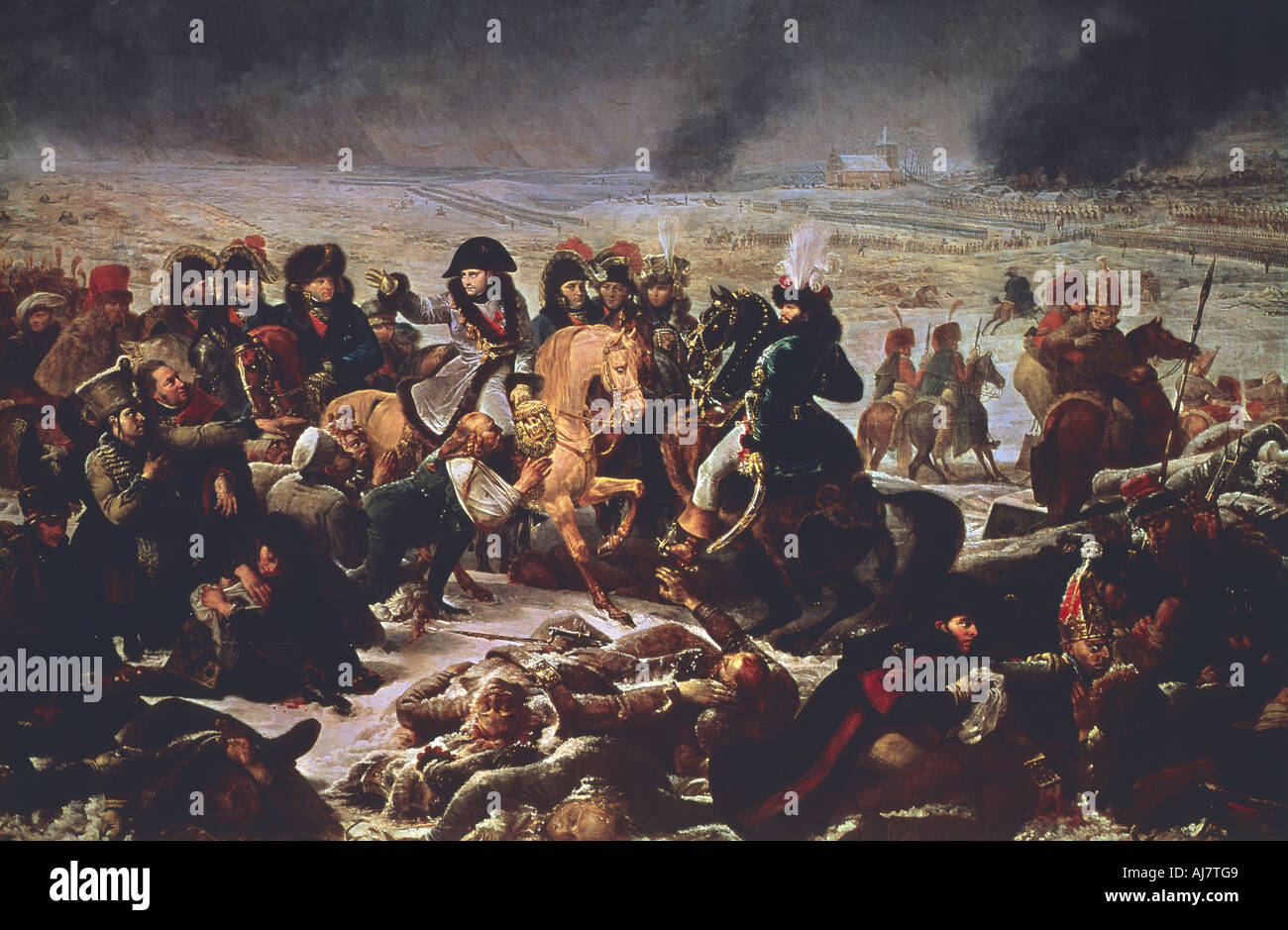Napoleon on the Field of the Battle of Eylau 9th February 1807 1808  Stock Photo
