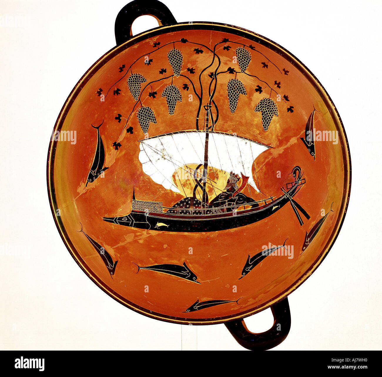 Dionysius in a sailing boat surrounded by dolphins Ancient Greek dish Krater 530 BC  - Stock Image