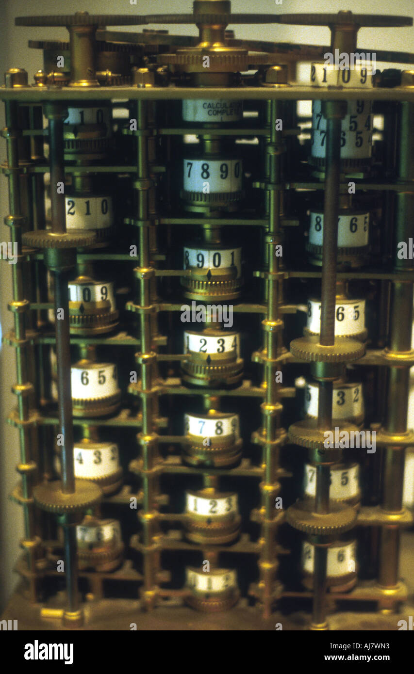 Charles Babbage s Difference Engine No 1 prototype calculating machine 1824 1832  - Stock Image