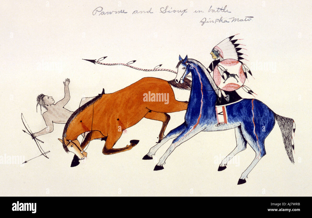 Unhorsing of a Pawnee warrior by Dakota Sioux warrior Zintka Mato (Dog Bear), c1889-1927.  Artist: Kills Two - Stock Image