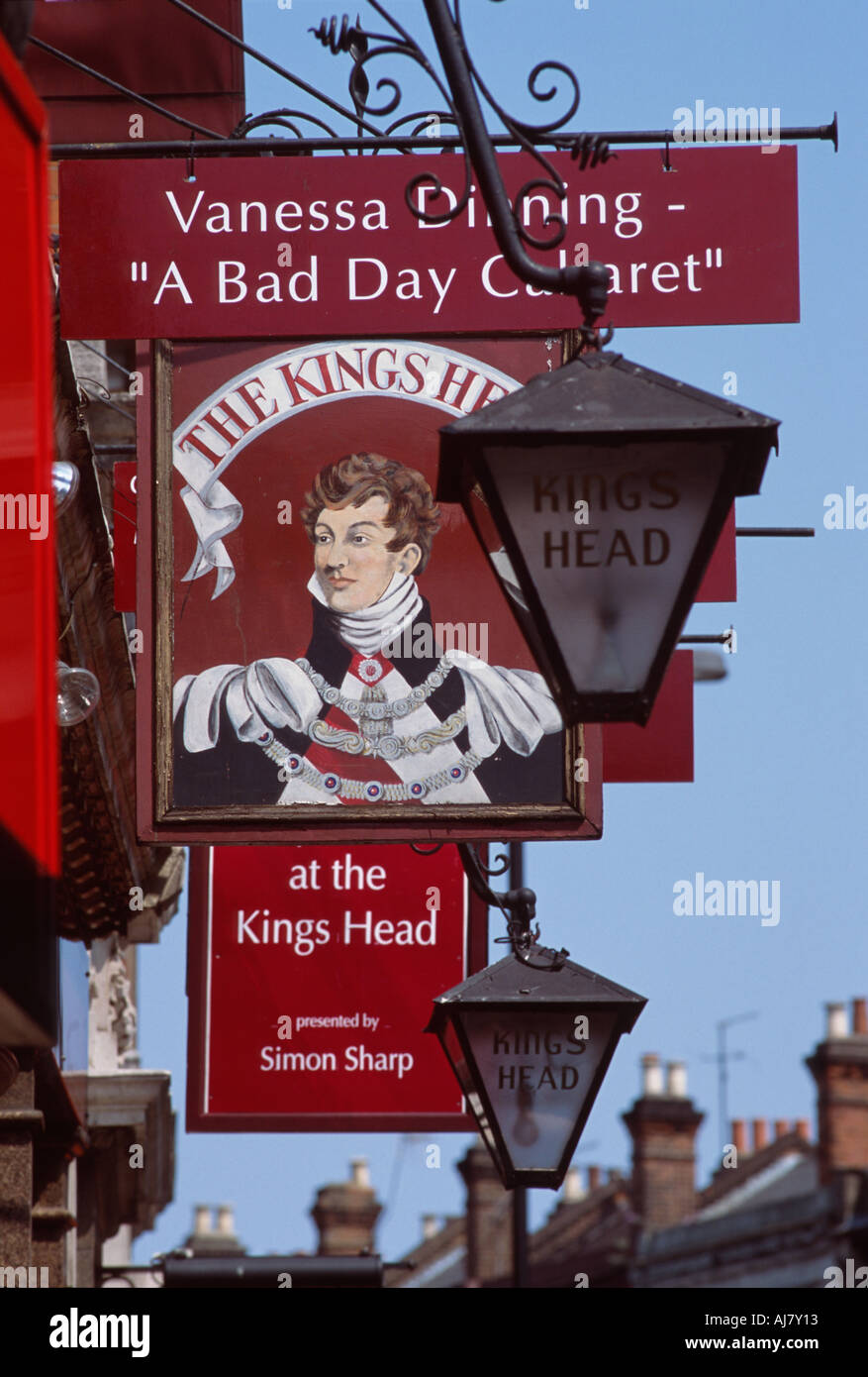 Pub signs outside of the Kings Head Theatre Pub, Islington, London, England - Stock Image
