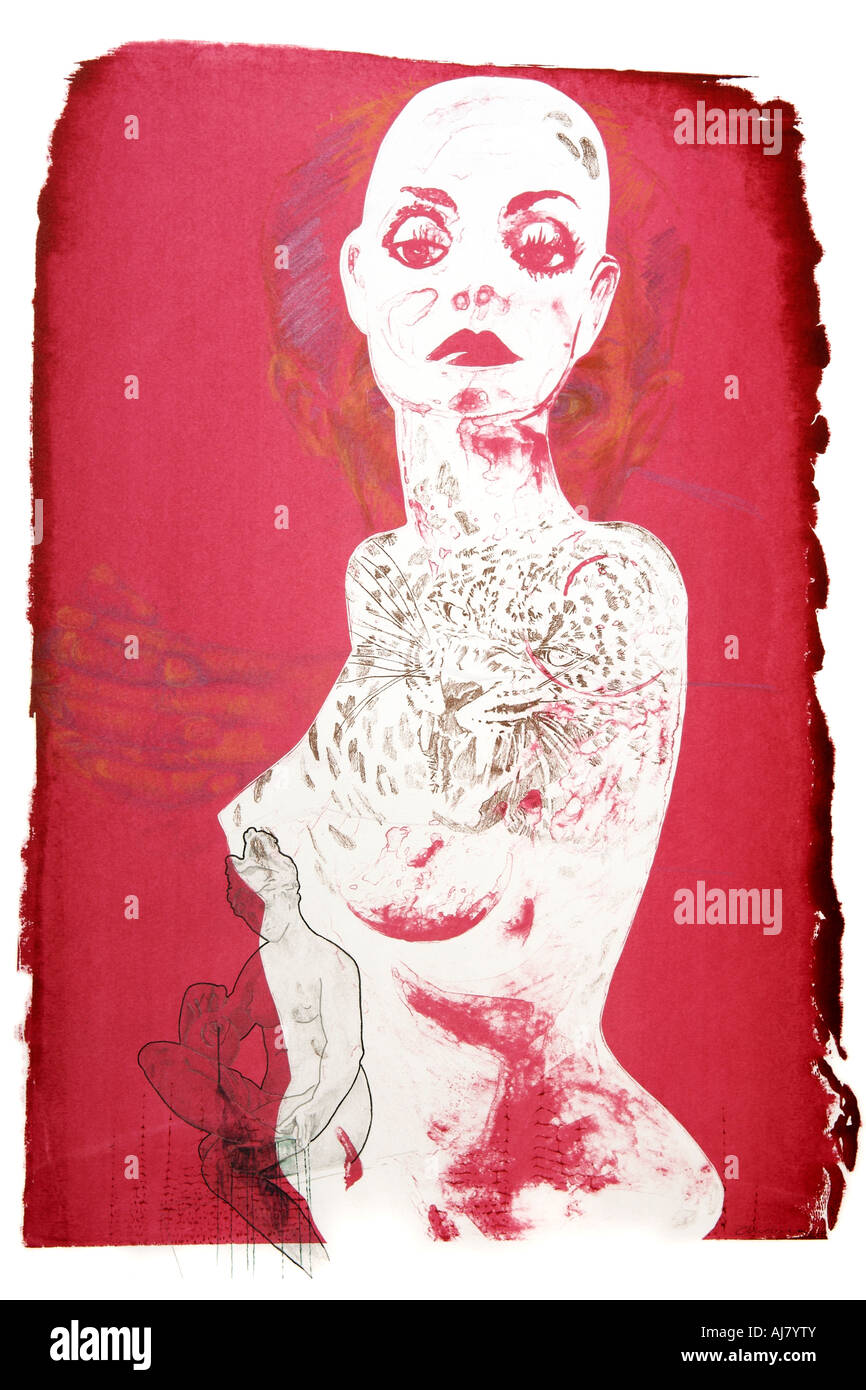 Photograph of screen print artwork based on a shop window display mannequin. Artist: Andrea Borosova. Stock Photo