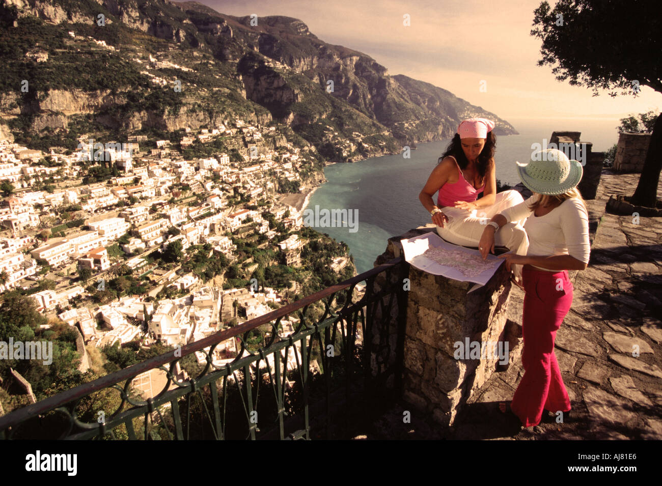 Amalfi Coast Italy Checking The Map Right Over Positano