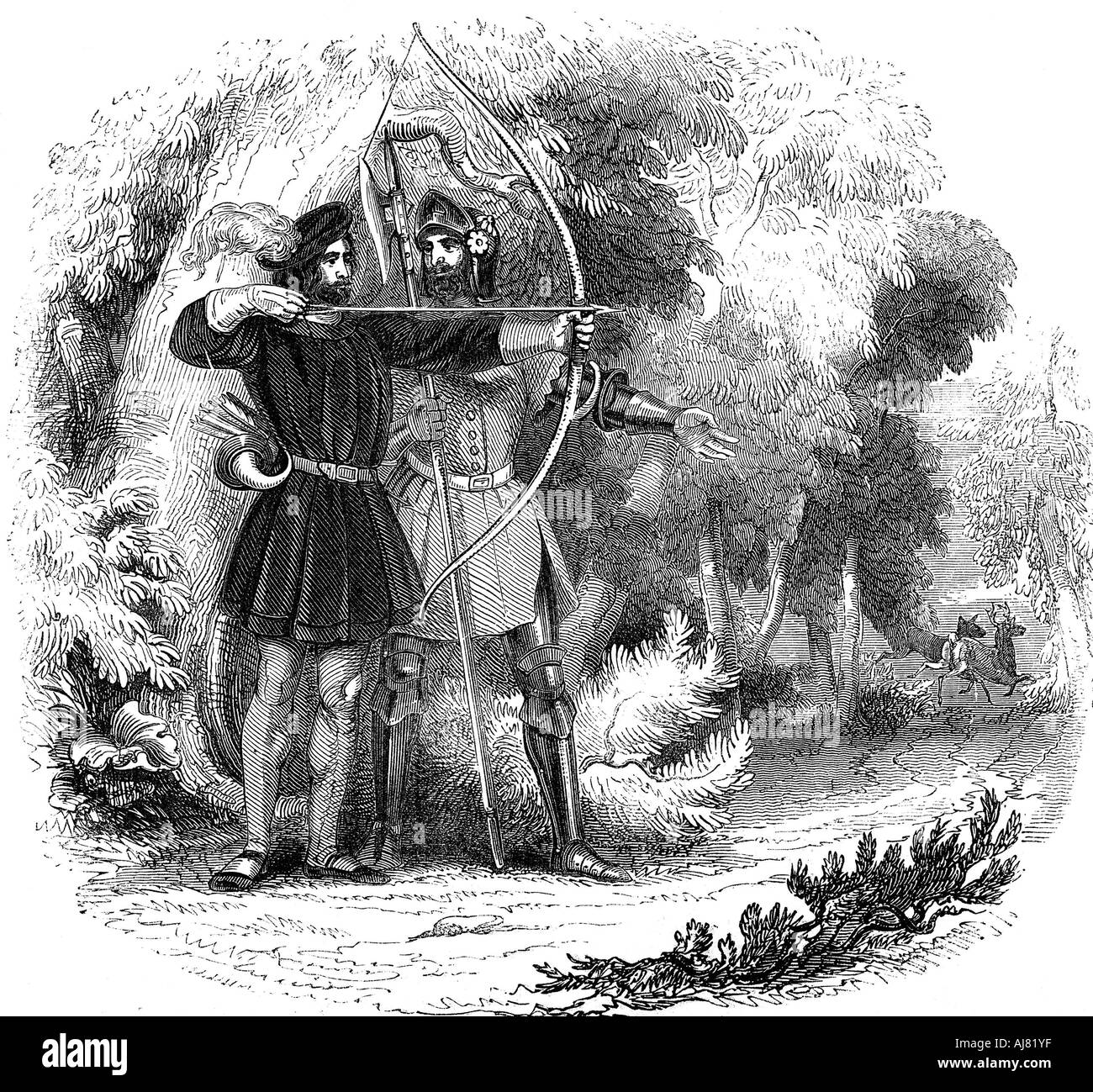 Robin Hood legendary English folk hero and outlaw and champion of the poor early 19th century  - Stock Image