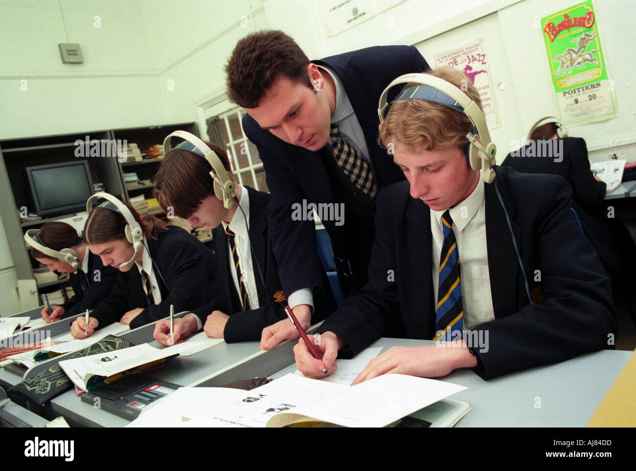 Language class in secondary school - Stock Image