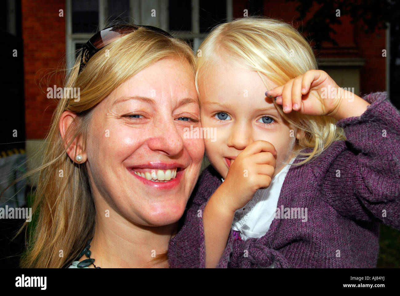 Mother with her 3 year old daughter, Kingston, Surrey, UK. - Stock Image