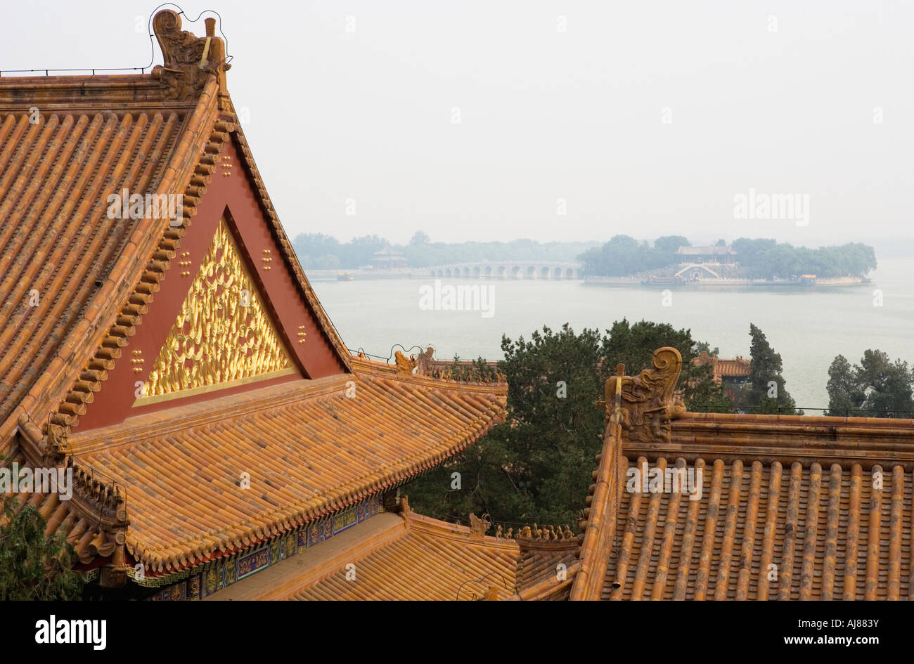 View from Longevity Hill over Kunming Lake to South Lake Island and Seventeen Arch Bridge, Summer Palace (Yihe Yuan), - Stock Image
