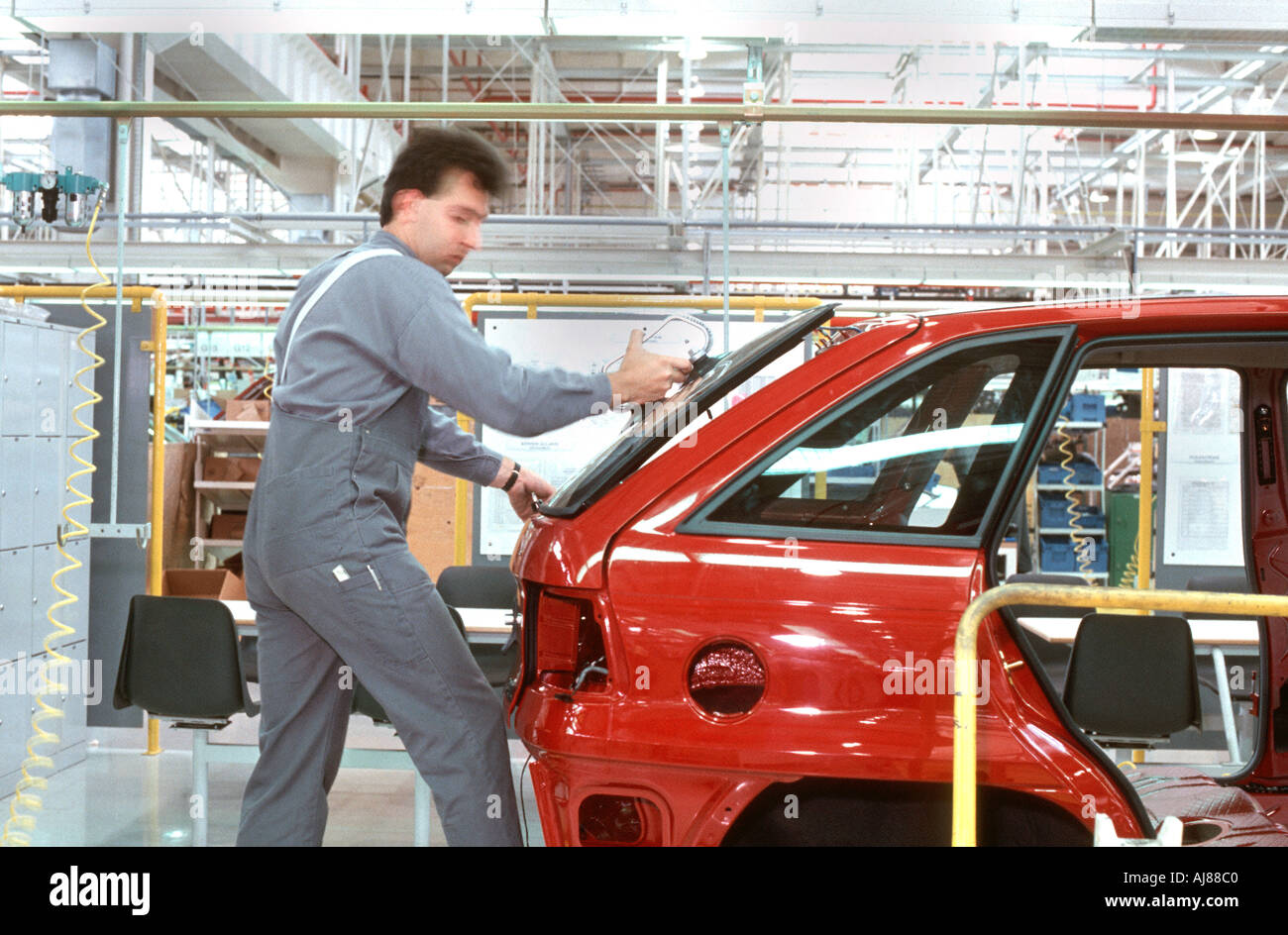 SZENTGOTTHARD HUNGARY, G.M Opel Auto Factory, Assembly Line Workers Work Stock Photo