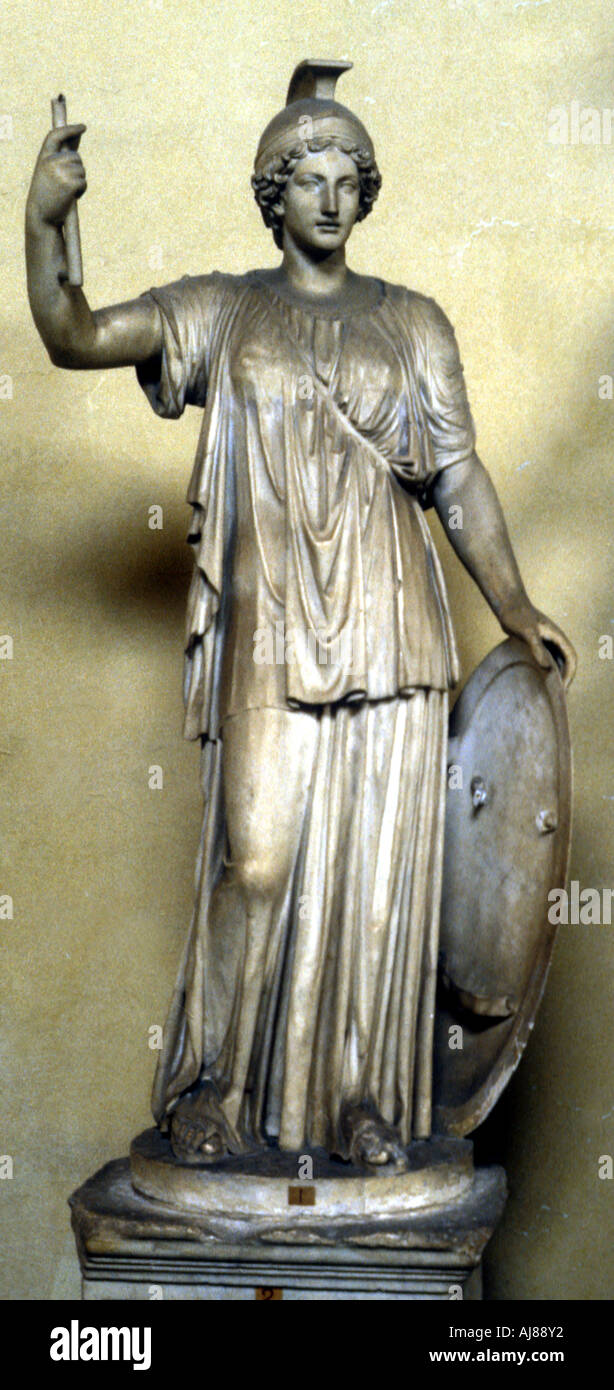 Statue of Minerva Ancient Roman goddess of wisdom and patroness of the arts  - Stock Image