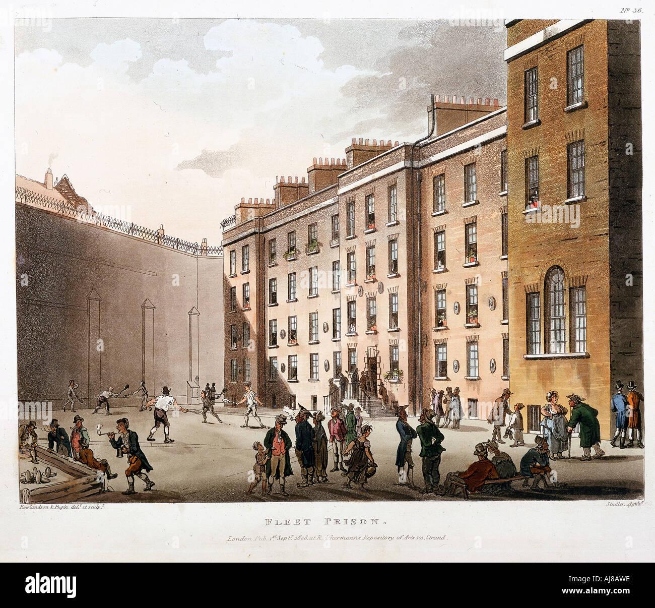 Inner court Fleet Prison London 1808 1811  - Stock Image