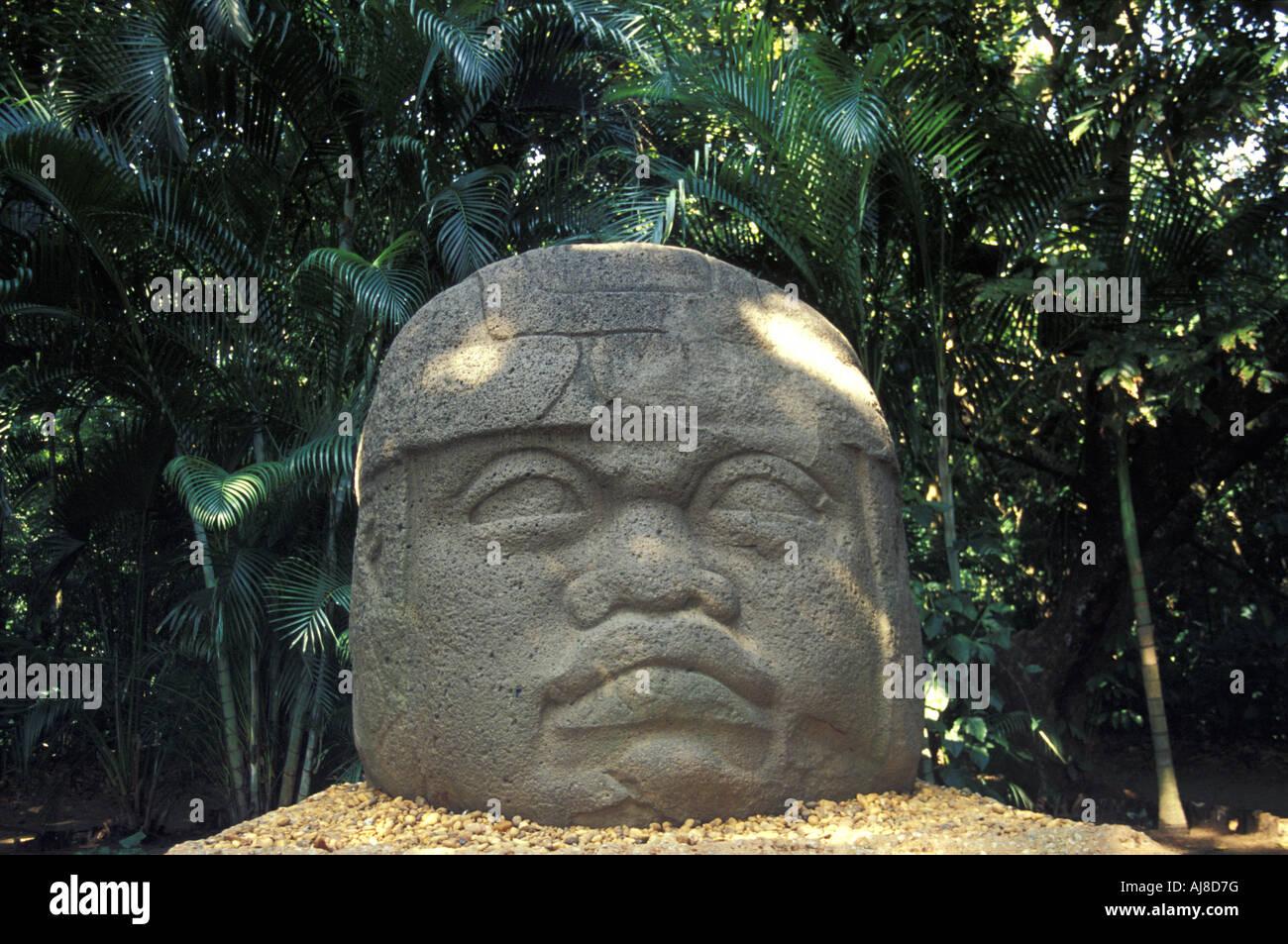 Colossal Olmec head, Monument 1, Parque Museo La Venta , Villahermosa, Mexico - Stock Image