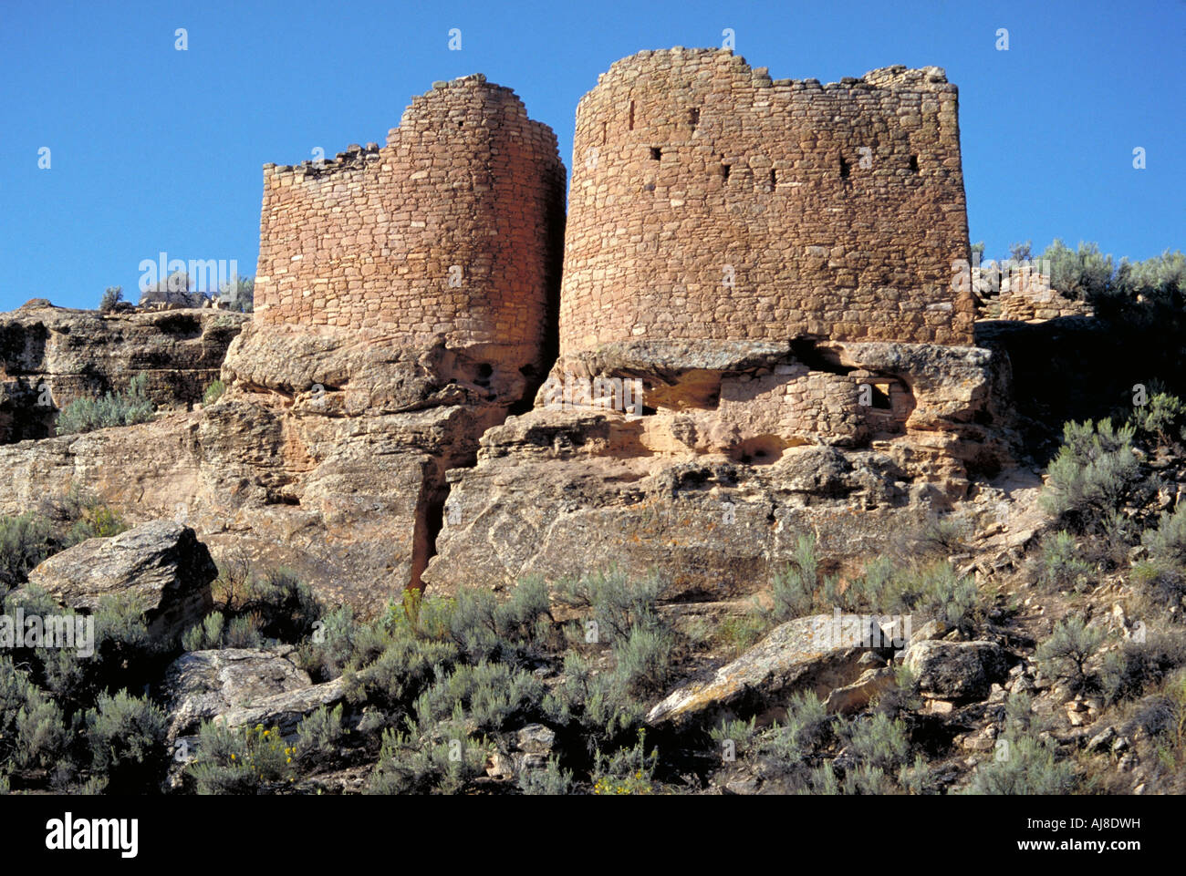 Elk224 6147 Utah Hovenweep NM Anasazi period ruins 1200 AD Twin Towers - Stock Image